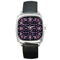 Digital Computer Graphic Seamless Wallpaper Square Metal Watch