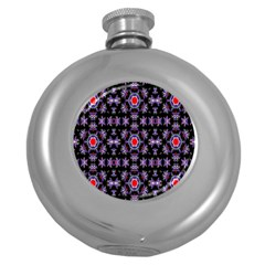 Digital Computer Graphic Seamless Wallpaper Round Hip Flask (5 Oz)