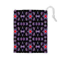 Digital Computer Graphic Seamless Wallpaper Drawstring Pouches (Large)