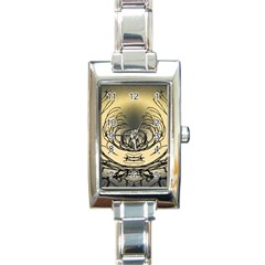 Atmospheric Black Branches Abstract Rectangle Italian Charm Watch