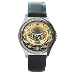 Atmospheric Black Branches Abstract Round Metal Watch