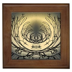Atmospheric Black Branches Abstract Framed Tiles