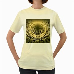 Atmospheric Black Branches Abstract Women s Yellow T Shirt