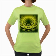 Atmospheric Black Branches Abstract Women s Green T-Shirt