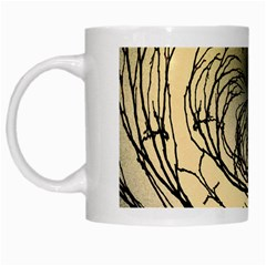 Atmospheric Black Branches Abstract White Mugs