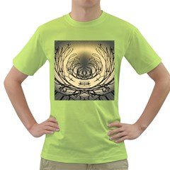 Atmospheric Black Branches Abstract Green T-Shirt