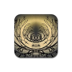 Atmospheric Black Branches Abstract Rubber Square Coaster (4 pack)