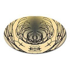 Atmospheric Black Branches Abstract Oval Magnet