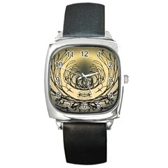 Atmospheric Black Branches Abstract Square Metal Watch