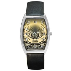 Atmospheric Black Branches Abstract Barrel Style Metal Watch