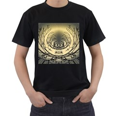 Atmospheric Black Branches Abstract Men s T Shirt (black) (two Sided)