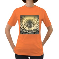 Atmospheric Black Branches Abstract Women s Dark T-Shirt