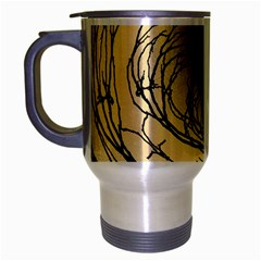 Atmospheric Black Branches Abstract Travel Mug (Silver Gray)