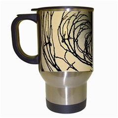 Atmospheric Black Branches Abstract Travel Mugs (White)