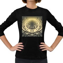 Atmospheric Black Branches Abstract Women s Long Sleeve Dark T Shirts