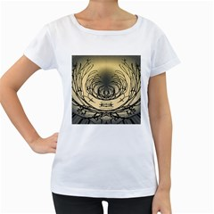 Atmospheric Black Branches Abstract Women s Loose-Fit T-Shirt (White)