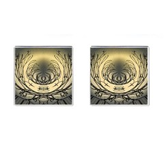 Atmospheric Black Branches Abstract Cufflinks (Square)