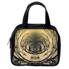 Atmospheric Black Branches Abstract Classic Handbags (One Side)