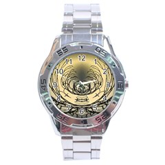 Atmospheric Black Branches Abstract Stainless Steel Analogue Watch