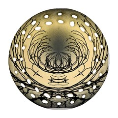 Atmospheric Black Branches Abstract Round Filigree Ornament (Two Sides)