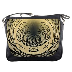 Atmospheric Black Branches Abstract Messenger Bags