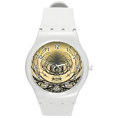 Atmospheric Black Branches Abstract Round Plastic Sport Watch (M)