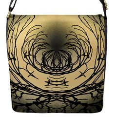 Atmospheric Black Branches Abstract Flap Messenger Bag (S)