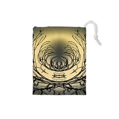 Atmospheric Black Branches Abstract Drawstring Pouches (small)