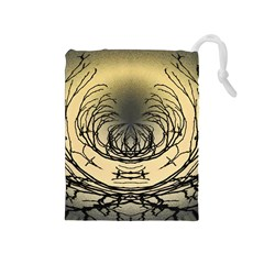 Atmospheric Black Branches Abstract Drawstring Pouches (medium)