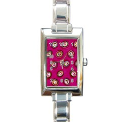 Digitally Painted Abstract Polka Dot Swirls On A Pink Background Rectangle Italian Charm Watch