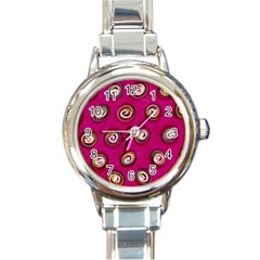 Digitally Painted Abstract Polka Dot Swirls On A Pink Background Round Italian Charm Watch