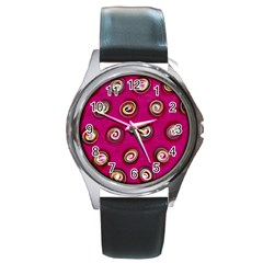 Digitally Painted Abstract Polka Dot Swirls On A Pink Background Round Metal Watch
