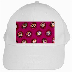 Digitally Painted Abstract Polka Dot Swirls On A Pink Background White Cap