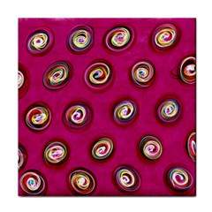 Digitally Painted Abstract Polka Dot Swirls On A Pink Background Tile Coasters