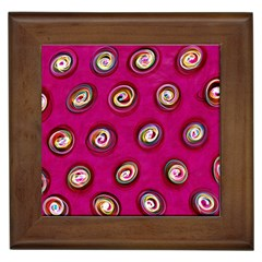Digitally Painted Abstract Polka Dot Swirls On A Pink Background Framed Tiles