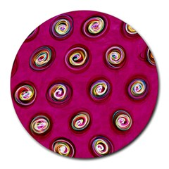 Digitally Painted Abstract Polka Dot Swirls On A Pink Background Round Mousepads