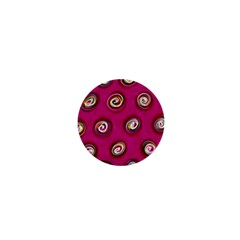 Digitally Painted Abstract Polka Dot Swirls On A Pink Background 1  Mini Buttons