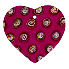 Digitally Painted Abstract Polka Dot Swirls On A Pink Background Ornament (heart)
