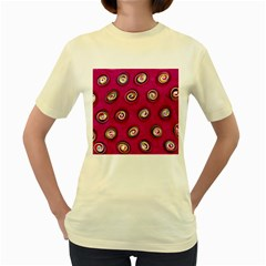 Digitally Painted Abstract Polka Dot Swirls On A Pink Background Women s Yellow T Shirt