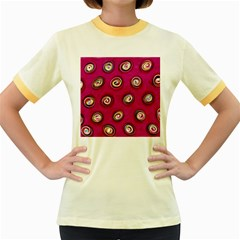 Digitally Painted Abstract Polka Dot Swirls On A Pink Background Women s Fitted Ringer T-Shirts