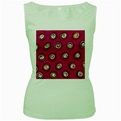 Digitally Painted Abstract Polka Dot Swirls On A Pink Background Women s Green Tank Top