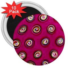 Digitally Painted Abstract Polka Dot Swirls On A Pink Background 3  Magnets (10 pack)