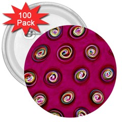 Digitally Painted Abstract Polka Dot Swirls On A Pink Background 3  Buttons (100 pack)