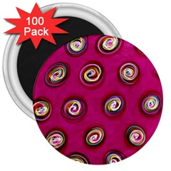 Digitally Painted Abstract Polka Dot Swirls On A Pink Background 3  Magnets (100 pack)