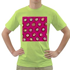 Digitally Painted Abstract Polka Dot Swirls On A Pink Background Green T-Shirt