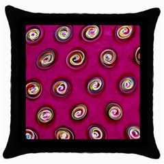 Digitally Painted Abstract Polka Dot Swirls On A Pink Background Throw Pillow Case (Black)