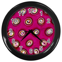 Digitally Painted Abstract Polka Dot Swirls On A Pink Background Wall Clocks (black)