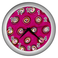 Digitally Painted Abstract Polka Dot Swirls On A Pink Background Wall Clocks (silver)