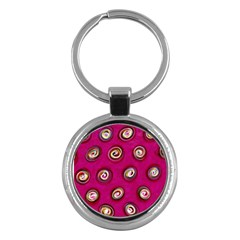 Digitally Painted Abstract Polka Dot Swirls On A Pink Background Key Chains (Round)