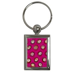 Digitally Painted Abstract Polka Dot Swirls On A Pink Background Key Chains (Rectangle)